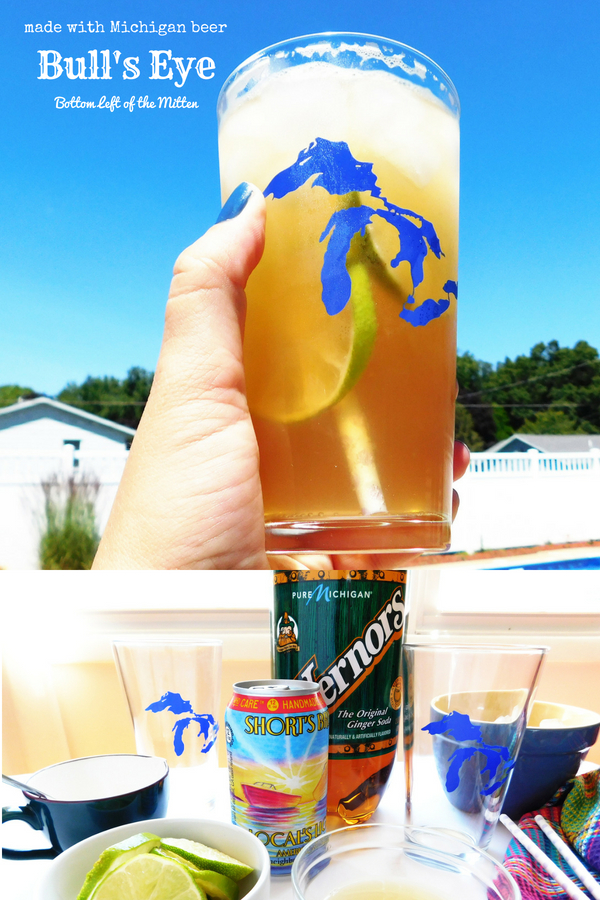This Bull's Eye beer cocktail is so refreshing. Made with light beer, ginger ale, lime juice and sugar it's a slightly sweet drink perfect for by the pool. #beercocktail #craftbeer #gingerale #summerdrink #summer #summercocktails #craftbeering #craftbeercocktail