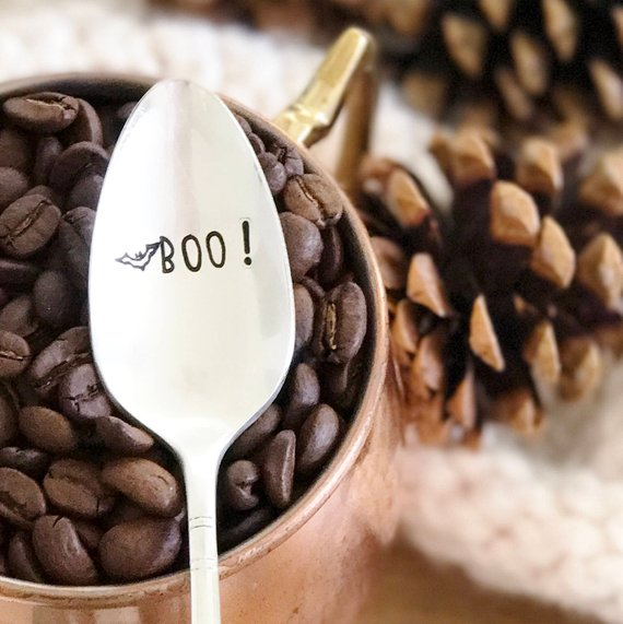 Boo! Hand Stamped Spooky Bat Coffee Spoon from MilkandHoneyLuxuries | Halloween 2018 | Bottom Left of the Mitten