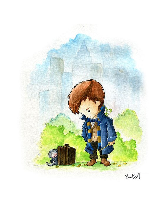Newt Scamander Fantastic Beasts Fan Art Watercolor Print from BenByrdArtwork | Celebrate with 8 Fantastic Beasts Gift Guide | Bottom Left of the Mitten