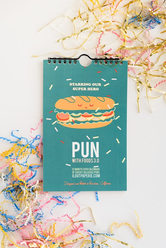 NEW** Foodie 2019 Pun with Foods 3.0 Limited Edition WALL* Calendar Set | Foodie Gift Guide | Bottom Left of the Mitten