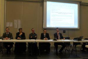 Thomas au micro avec de gauche à droite, Philippe Vibert, Thibault Viguier, Jean-Pierre Broyon, président de la section de Froissy et Jérôme Leconte