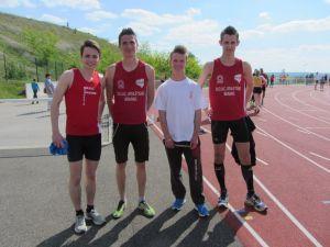 Nos relayeurs du 4*100m Guillaume, Jimmy, Yohann et Julien