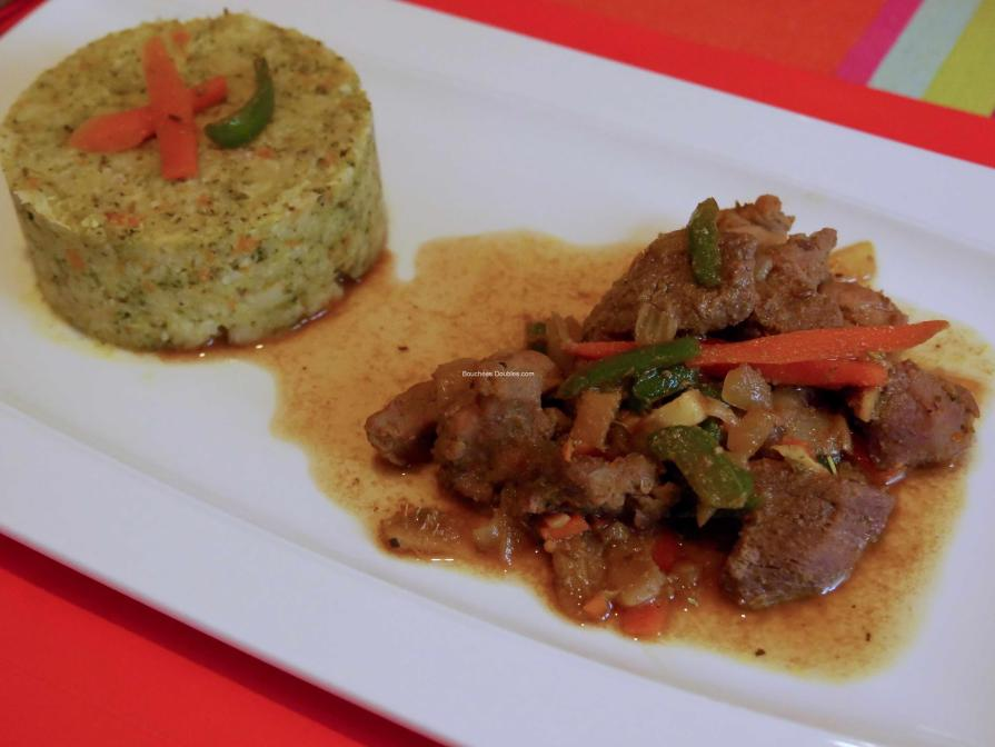 Canard sauté sauce soja et purée de 4 légumes