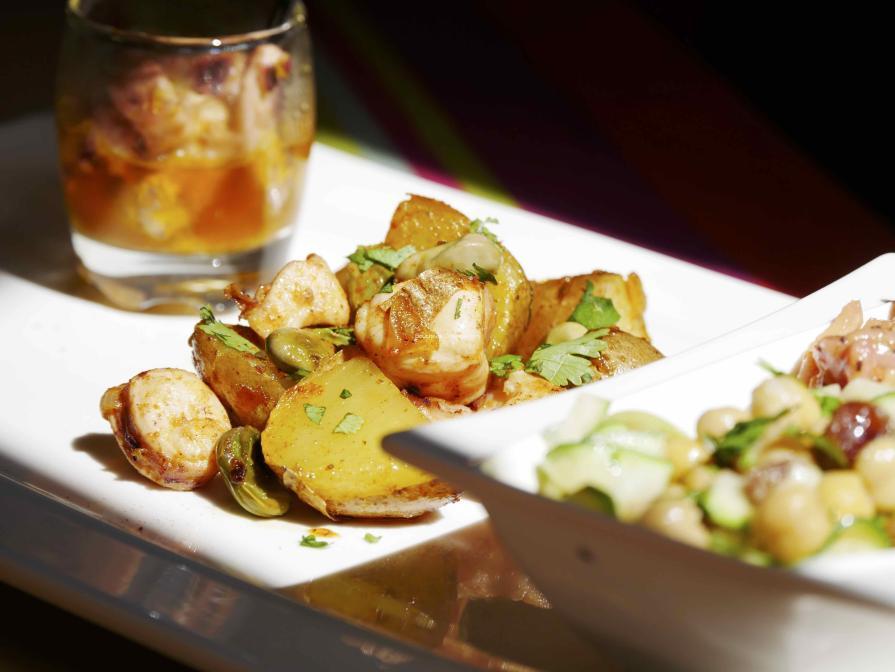 Fricassée de pommes de terre, fèves et Poulpe en 2 façons