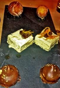 De haut en bas : beignet au beurre d'érable, nougat glacé façon tarte à la farlouche et wippet au sirop d'érable