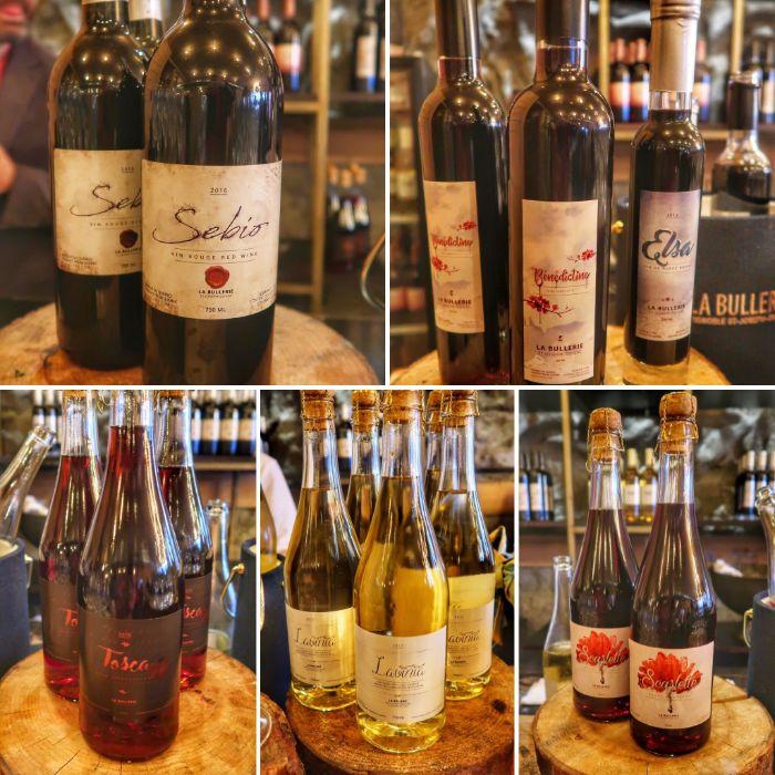 La gamme de vins de La bullerie