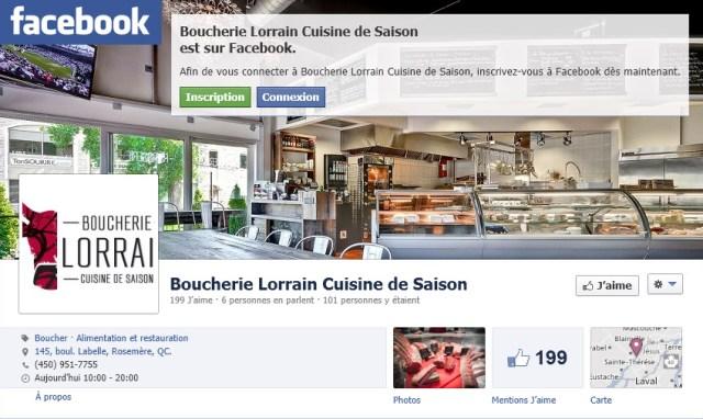 Boucherie Lorrain sur Facebook