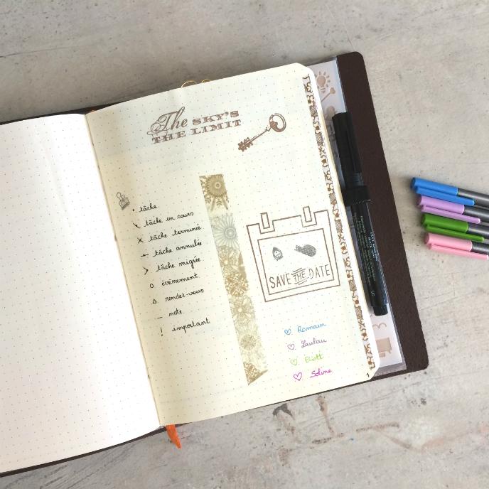 Transfert Bullet Journal Code couleurs