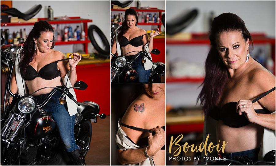 boudoir shoot at Harley Davidson
