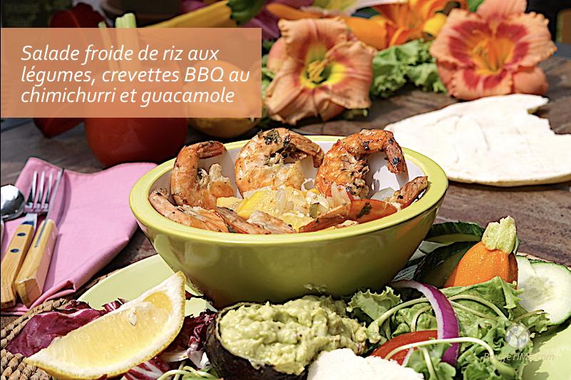 Salade froide de riz aux légumes, crevettes BBQ au chimichurri et avocat | BouffeTIME!