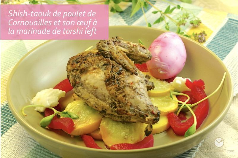 Recette de Shish-taouk de poulet de Cornouailles et son œuf à la marinade de torshi left | BouffeTIME!