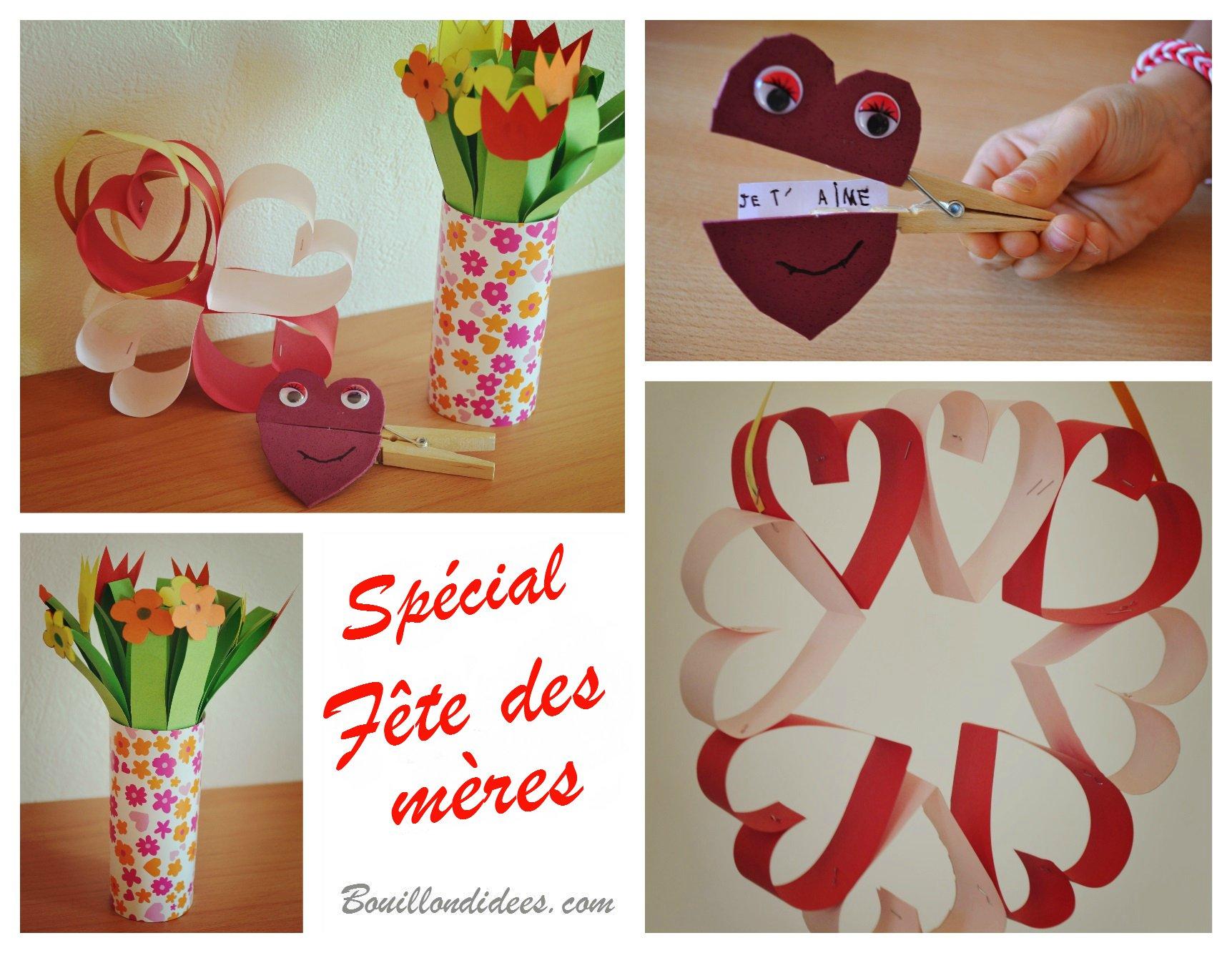 diy fete des meres bouquet de fleurs en papier pince linge coeur couronne de