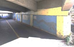 East wall of Arapahoe Underpass along Boulder Creek Path before mural installation