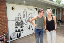 Artist + Homeowner team with finished artwork by Lindee Zimmer