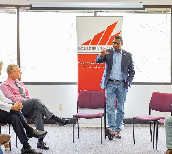 Congressman Joe Neguse at the Boulder Chamber