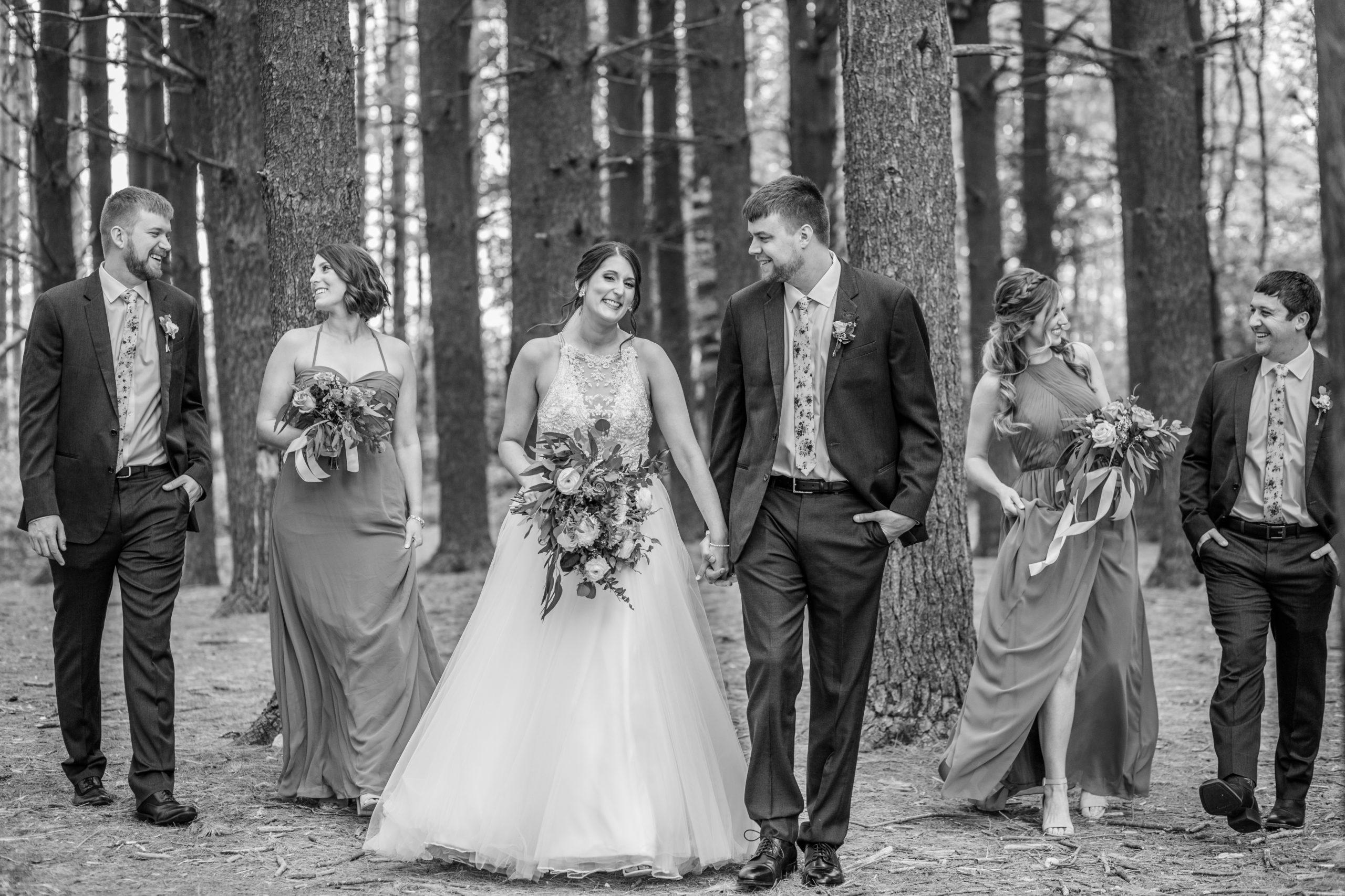 southern illinois photographer Wedding party, pine trees, black and white
