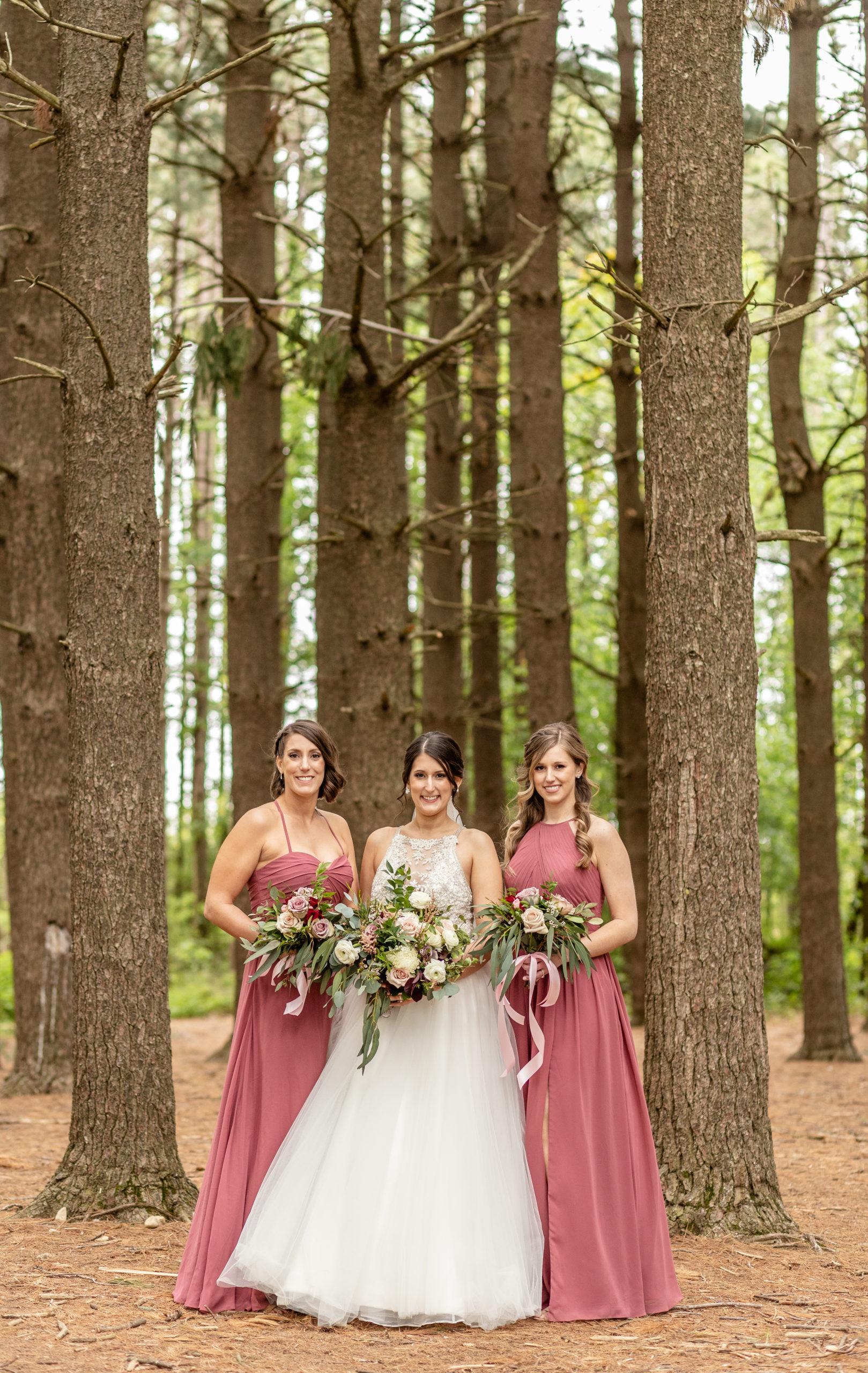 wedding dress, bride's maids, pine trees, rusty pink,southern illinois photographer