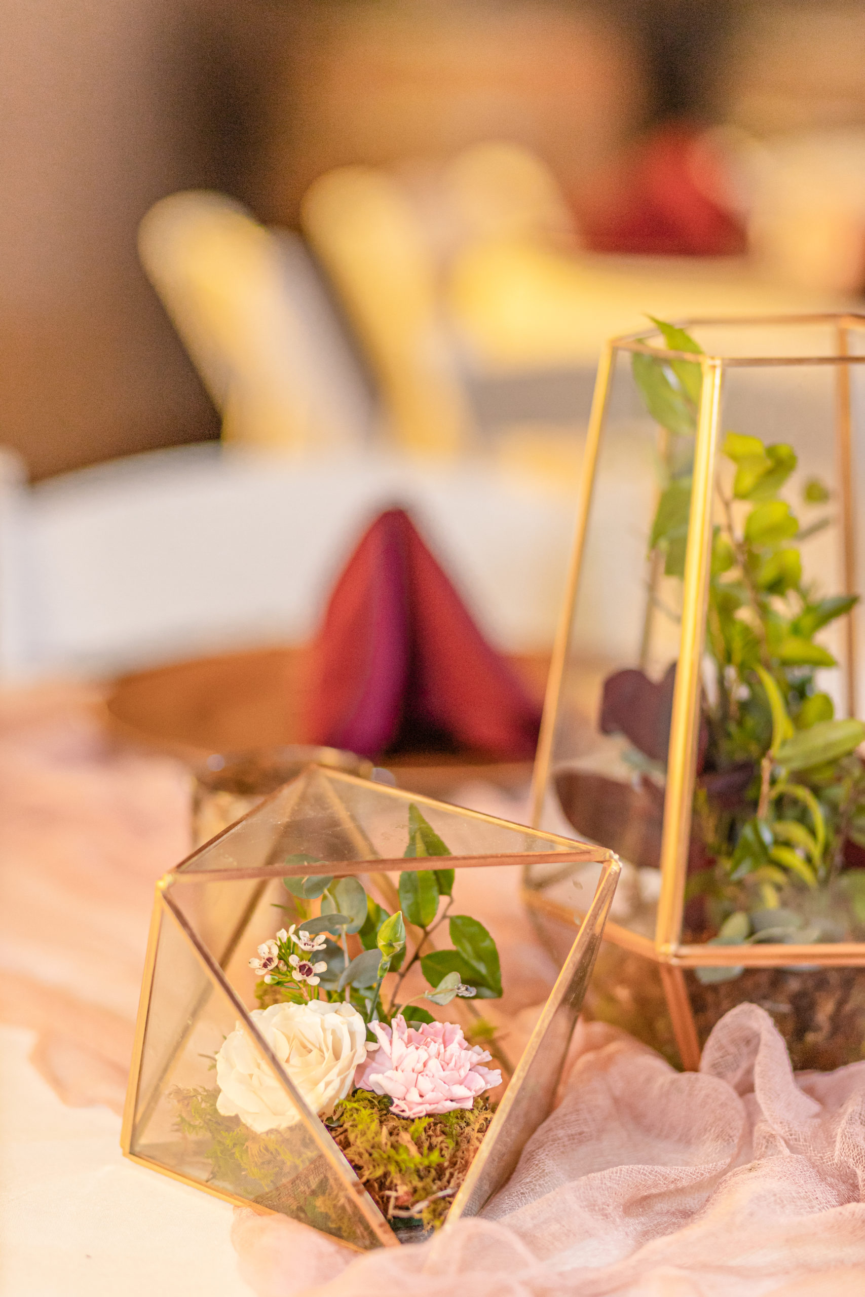 wedding details, center pieces,glass geometric terrarium, maroon, southern illinois photography