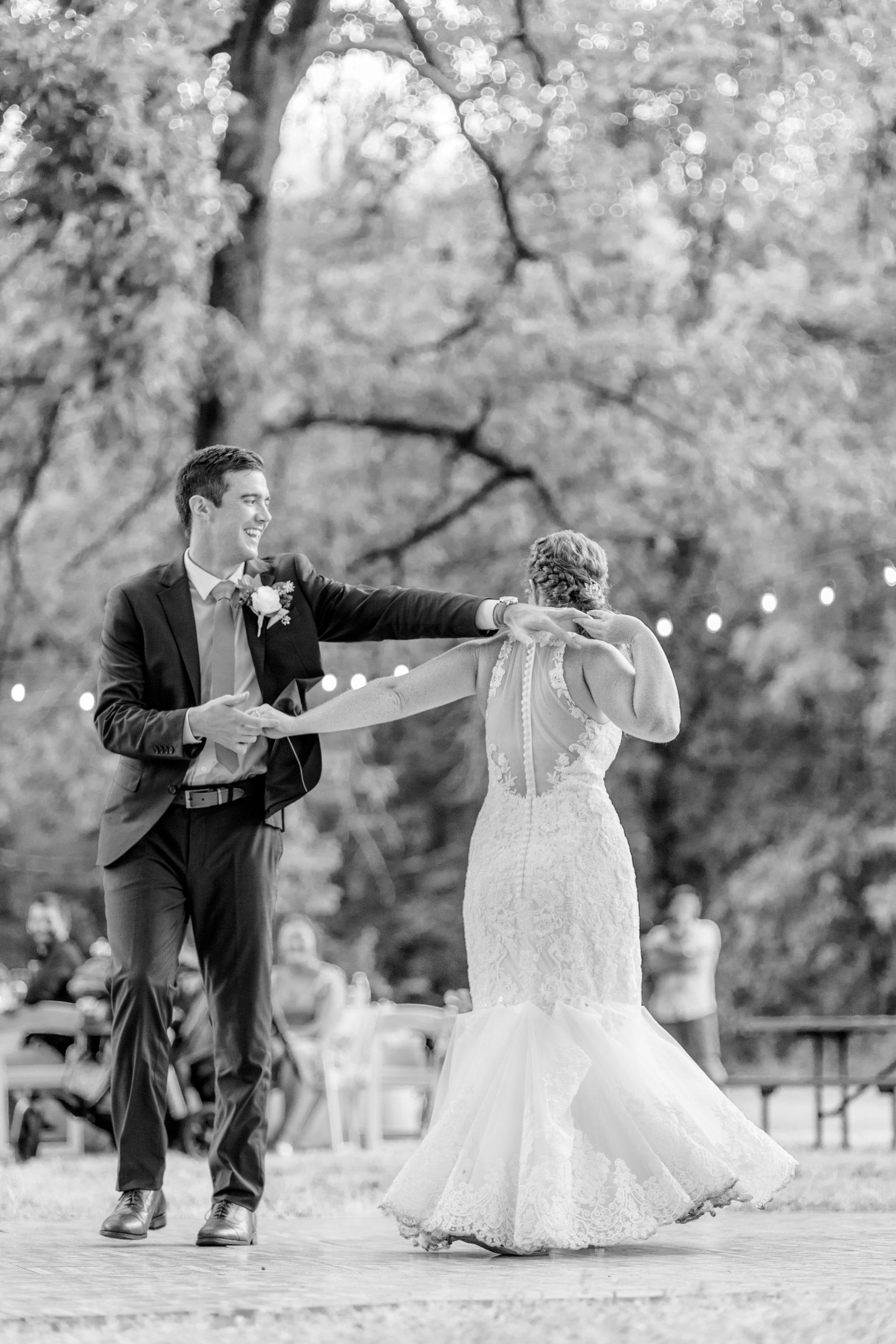 bride and groom dancing, woodland wedding, summer romance wedding, night wedding, black and white wedding photography, southern illinois wedding photography
