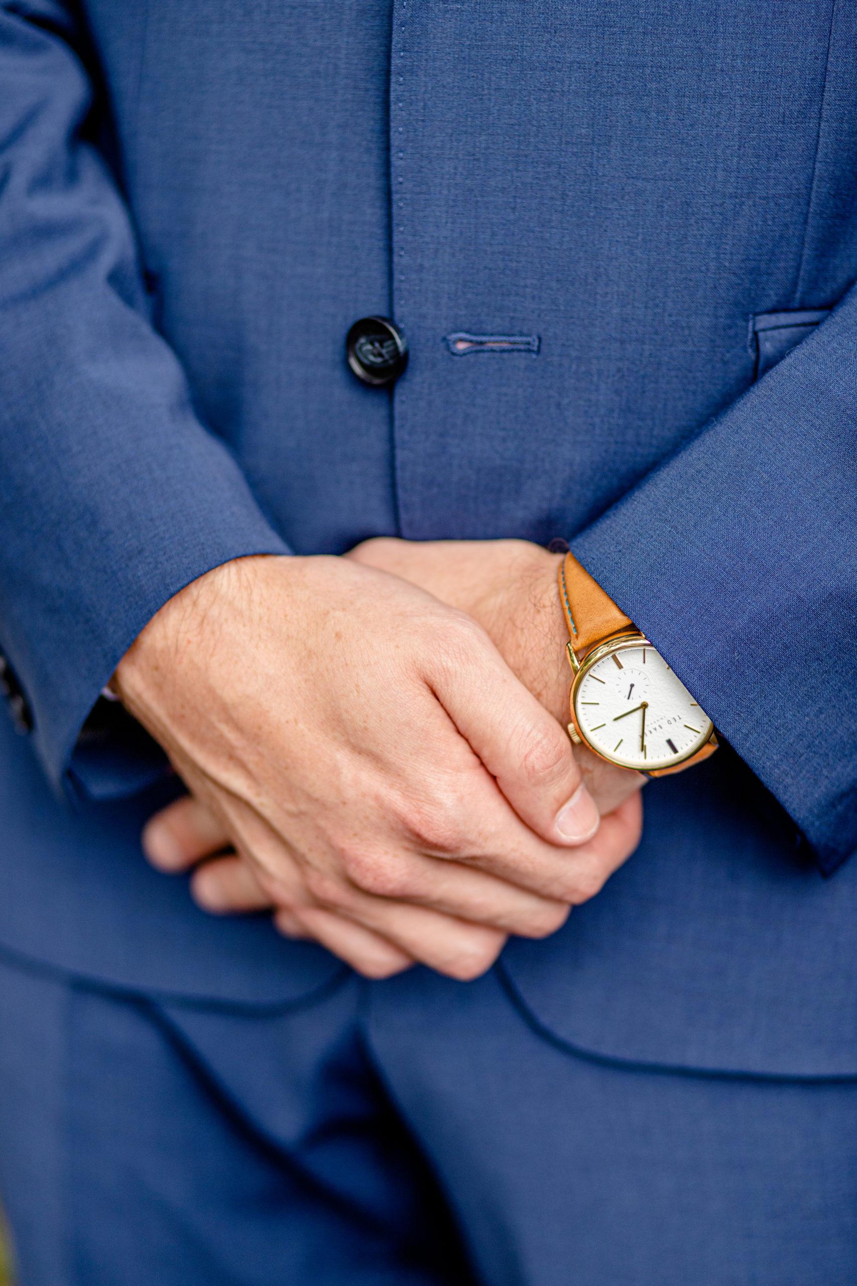 wedding details, groom details, blue tuxedo