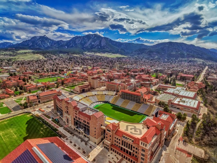 CU Boulder Stadium Aerial Photo