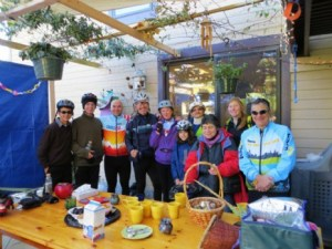 Enjoying a sukkah during the 2012 Sukkah Bike Hop.