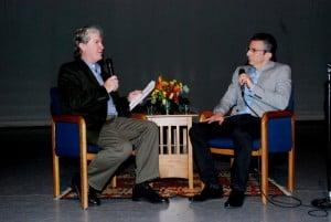 Ron Bostwick (l) interviewing Argo Producer David Klawans (r).
