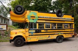 The Topsy Turvy Bus, which is launching its summer tour at the Hazon Food Festival.