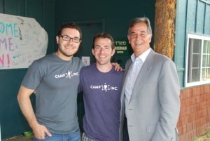 l-r: BJCC Exec. Dir. Jonathan Lev, Camp Inc. Chief Camping Officer Josh Pierce, Marshall Levin