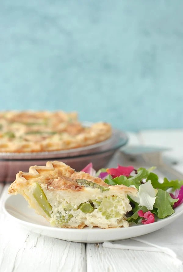 Springtime Aspargus Leek Romanesco Quiche with Baby Green Flower Petal salad - BoulderLocavore.com