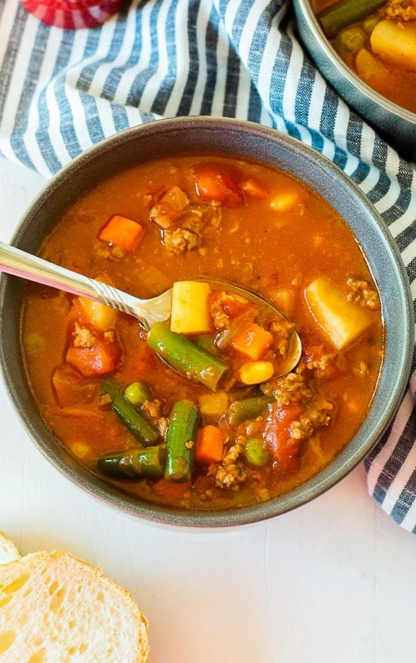 Vegetable Beef Soup in a bowl overhead