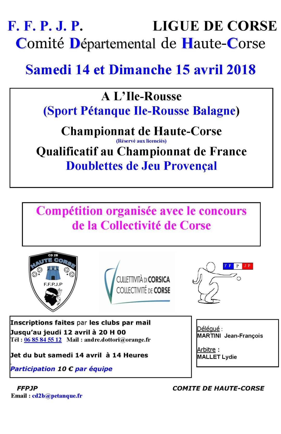 Samedi 14 & Dimanche 15 avril, Championnat de Haute-Corse Doublette Jeux Provençal