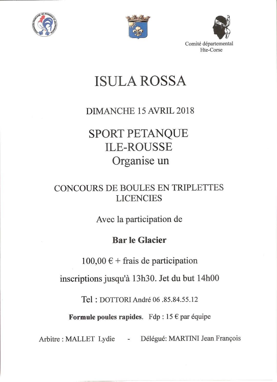 Dimanche 15 avril, départemental triplette organisé par le Sport Pétanque Ile-Rousse