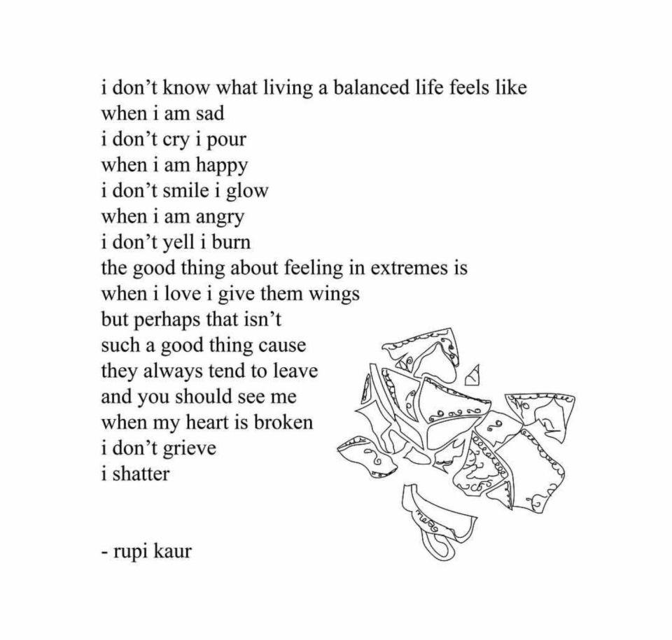 Rupi kaur, milk and honey, borderline personality, bpd, poems