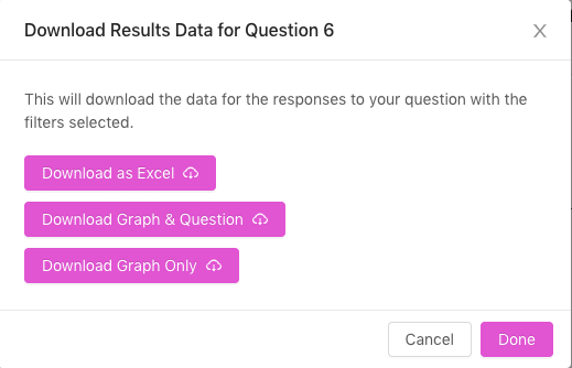Screenshot of the download individual question feature on the results page of the Bounce dashboard