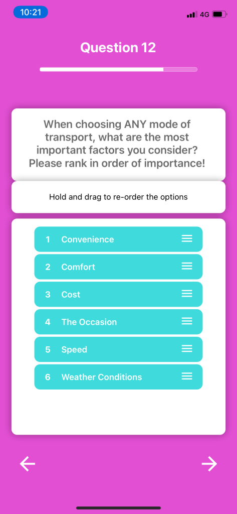 Screenshot of a ranking bundle question on the Bounce Insight app
