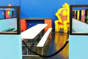 Semi Private Birthday rooms right on the floor with a good view of our bounce and arcade areas.