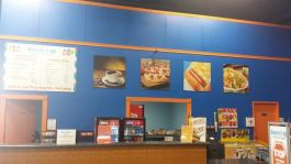 We offer coffee, nachos, hot dogs and many other snacks and drinks. We also carry a full menu including pizza, fries, salads, sub platters and more ( some kosher options may be available).