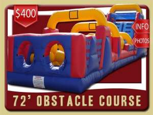 72' Obstacle Course Rental, Inflatabe, Blue, Red, Yellow