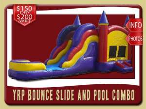 Bounce House Water Slide Pool Combo Inflatable, Purple, yellow, Red