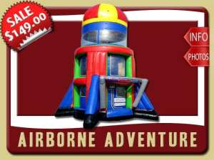 Airborn Adventure Parashoot Ride Inflatable Party Rental, Red, Blue, Green, Yellow