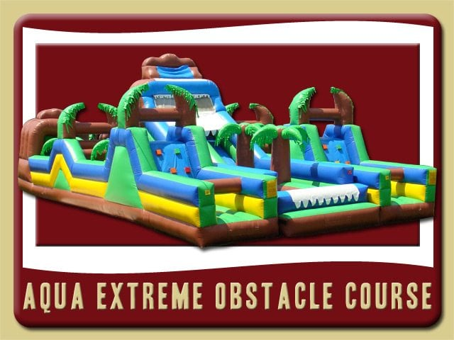 Aqua Extreme Obstacle Cource Water Slide Tropical Inflatable Rental Debary Palm Yree blue yellow green