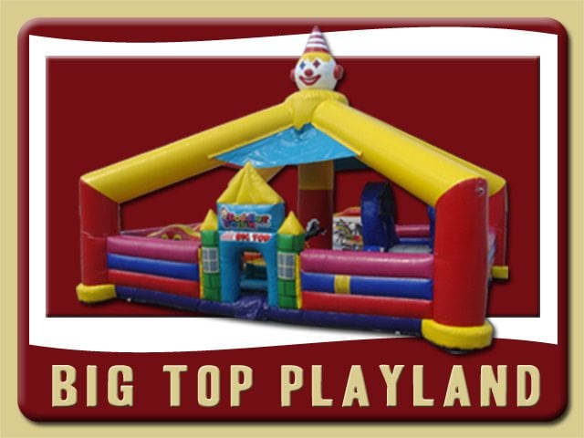 Big Top Inflatable Toddler Playland Rental Orange City red blue yellow clown