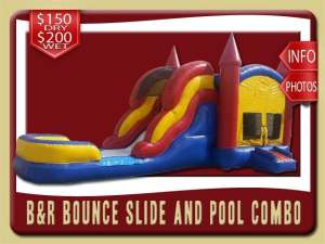 Bounce House Water Slide Pool Inflatable Combo, Blue, Red, Yellow