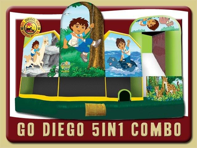 Diego 5in1 Combo Water Slide Inflatable Rental Daytona Beach Animals Jungle green yellow