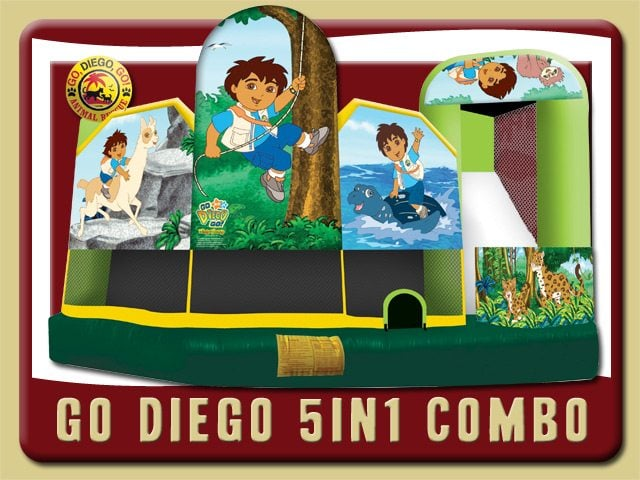 Diego 5in1 Combo Water Slide Inflatable Rental Daytona Beach Animals Jungle green yellow