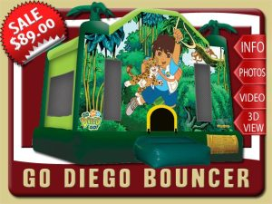 Go Diego Go Bounce House Rental, Baby Jaguar, jungle, Bobo brothers