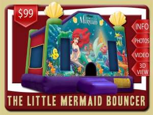 Disney The Little Mermaid Bounce House, Ariel, Flounder, Sebastian, under the sea