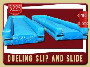 Dueling Slip and Slide Rental, Water, Wet, Inflatable, Race, Blue