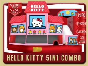 Hello Kitty 5in1 Bounce House Water Slide Inflatable Combo, Pink, White and Blue